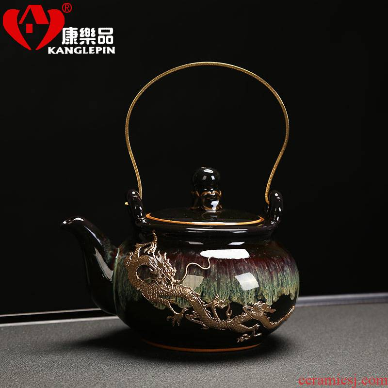 Recreational taste Japanese built lamp temmoku DiLiang pot of household teapot single pot of jingdezhen ceramic tea set kung fu tea pot