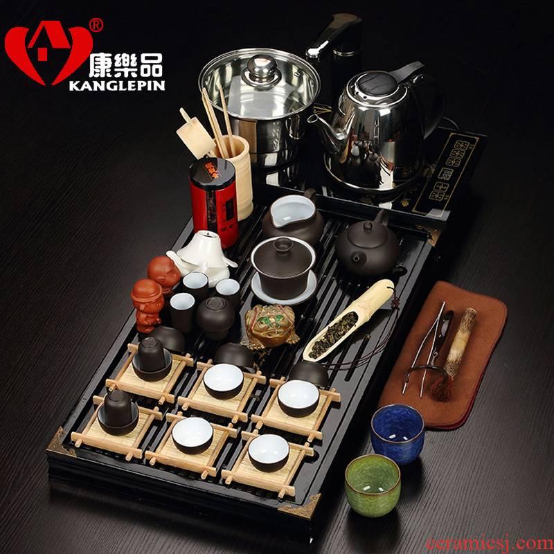 Recreational product of a complete set of the teapot tea sets kung fu tea set 7 see colour mixed color ice crack glaze) ceramic tea set four