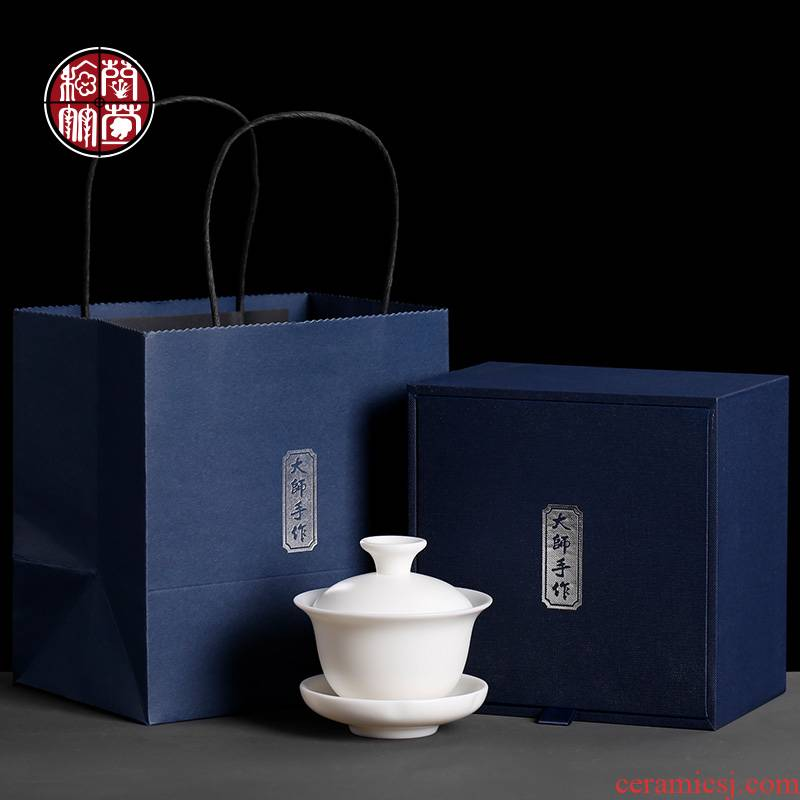 Manual dehua white porcelain three tureen only three mercifully machine suet jade kung fu tea teapot tea cups