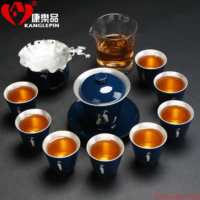 Recreation quality 999 sterling silver tea tureen glass ceramic cups Chinese style household fair keller tea set