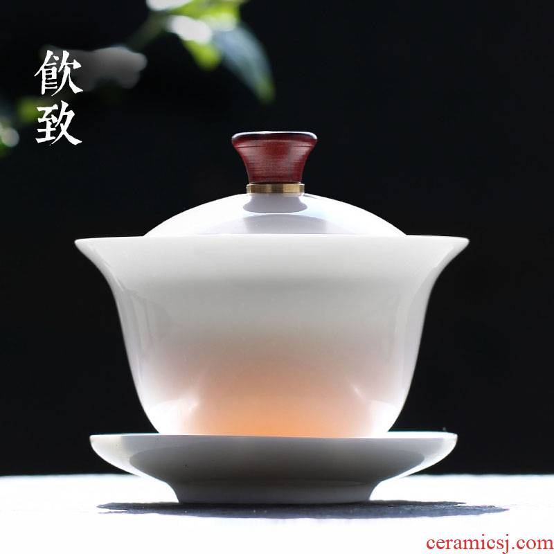Ultimately responds to dehua white porcelain anti hot tureen large thin foetus single ceramic tea bowl three cups footed kung fu tea set