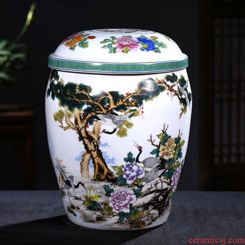 Jingdezhen ceramic urn burial articles large double cover ceramic cinerary urn burial removal tank of ashes
