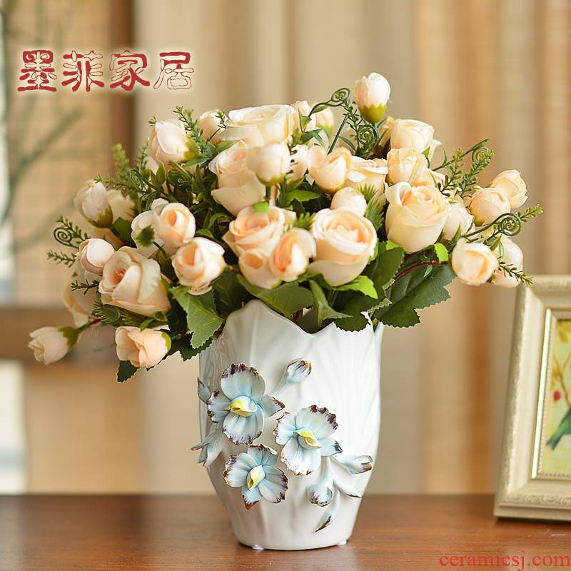 The vase in The Nordic idea contracted checking ceramic furnishing articles sitting room porch simulation flowers flower arrangement table dry flower decoration