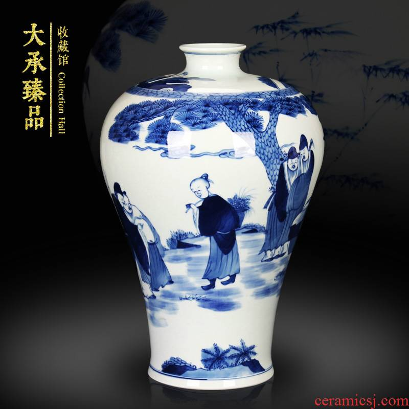 Jingdezhen ceramics vase hand - made xiangshan nine LaoMei bottles of Chinese style household decorative furnishing articles of blue and white porcelain arts and crafts