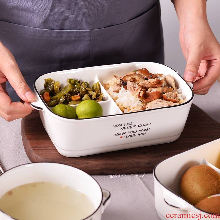 Rice, an artifact web celebrity lunchbox students lovely lunch box porcelain bowl with cover up soon bento box food bowl frame