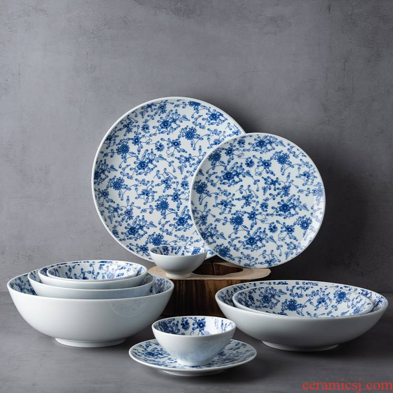 Japanese household food dish dehua white porcelain tableware platter maple ceramic bowl fish disk to use steak dishes dishes