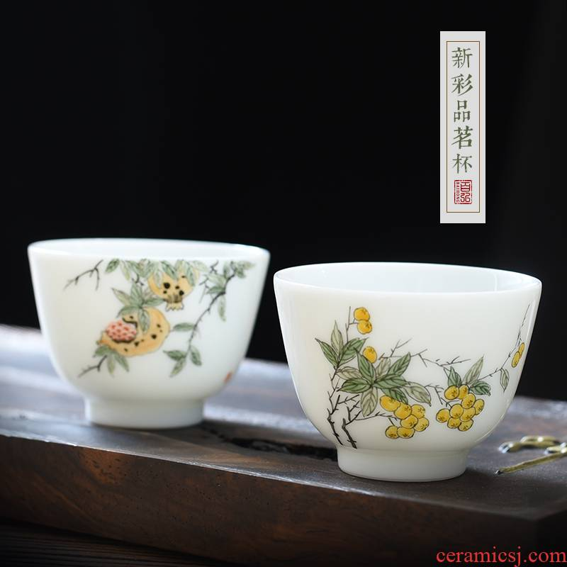 The New color sample tea cup cup of jingdezhen ceramic tea set jade mud hand - made pomegranate loquat peach master cup single CPU