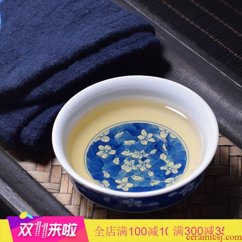 . Poly real scene of jingdezhen blue and white porcelain hand draw sample tea cup ice may ceramic cups pu - erh tea cup single CPU kunfu tea