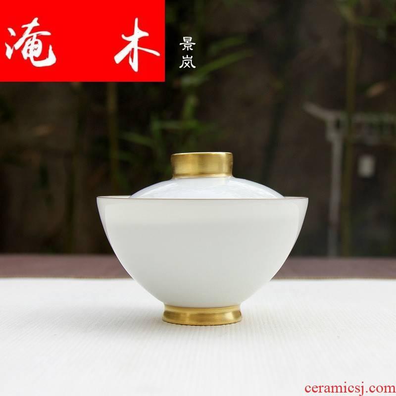 Submerged wood full gold sweet white glaze three to kung fu tea tea cup of quality tea tureen jingdezhen ceramics