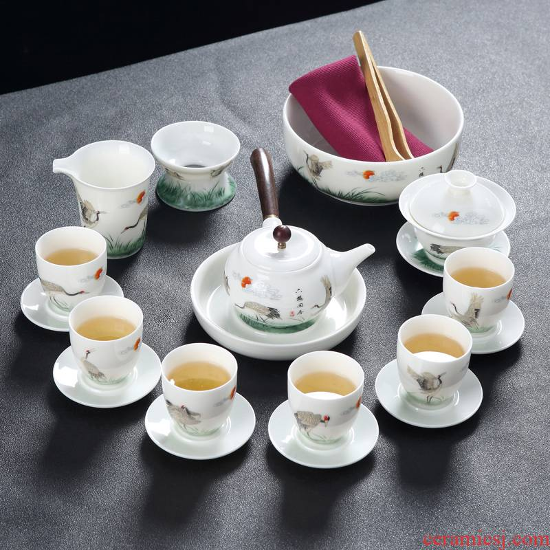 Suet jade porcelain kung fu tea set suits for Chinese style home office of a complete set of jingdezhen ceramic tea lid bowl