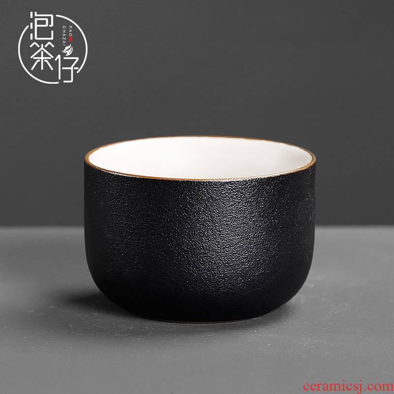 A single Japanese coarse pottery cups single cup black ceramic kung fu home tea tea set single master tea bowl