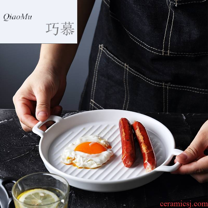 Qiao mu Nordic creative web celebrity photos tableware with handle plates special - shaped baking dish plate microwave oven ceramic flat