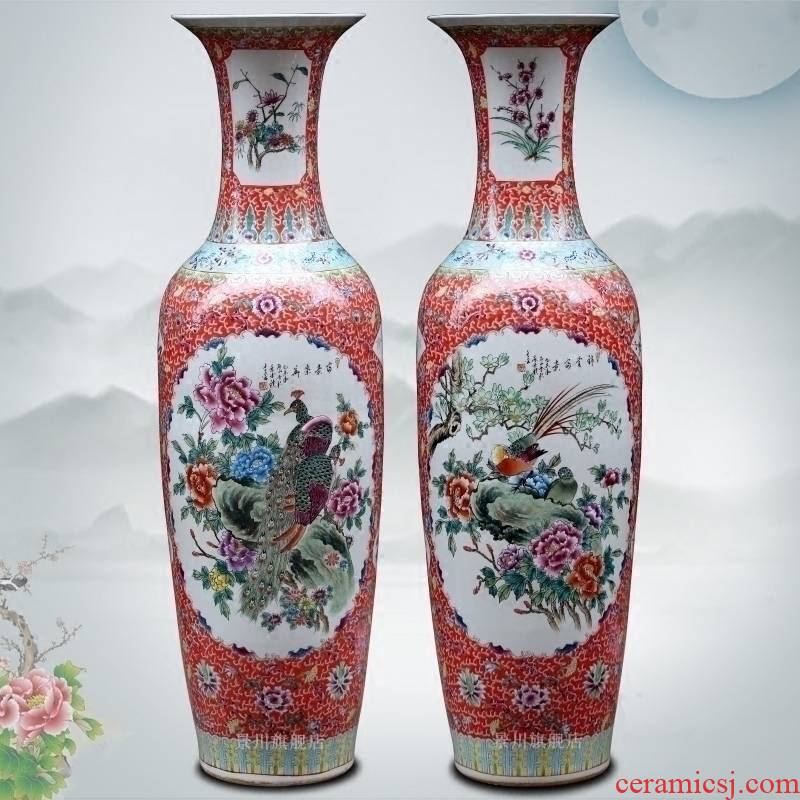 Jingdezhen ceramic hand - made silk hall riches and honour of large vase home sitting room hotel furnishing articles study adornment