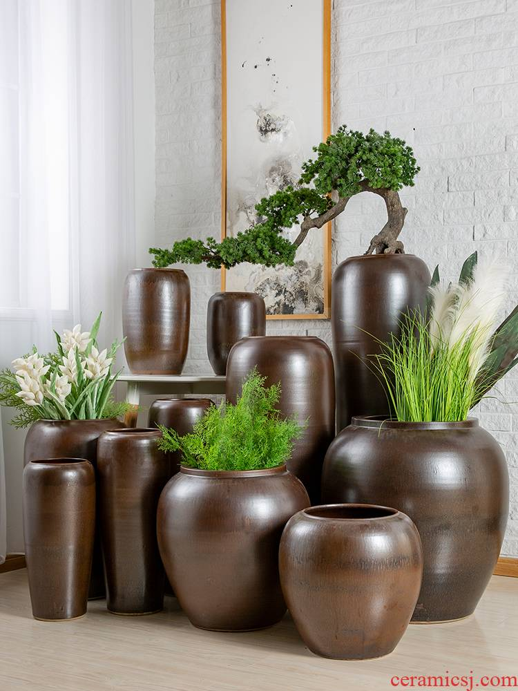 Restoring ancient ways of jingdezhen pottery pottery dried flower vases, small and pure and fresh household is suing living room decoration to the hotel flower arranging furnishing articles