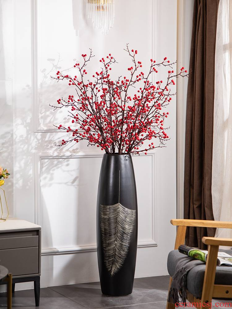 Ground vase large black checking ceramic furnishing articles I and contracted sitting room adornment European - style dried flowers flower arrangement suits for