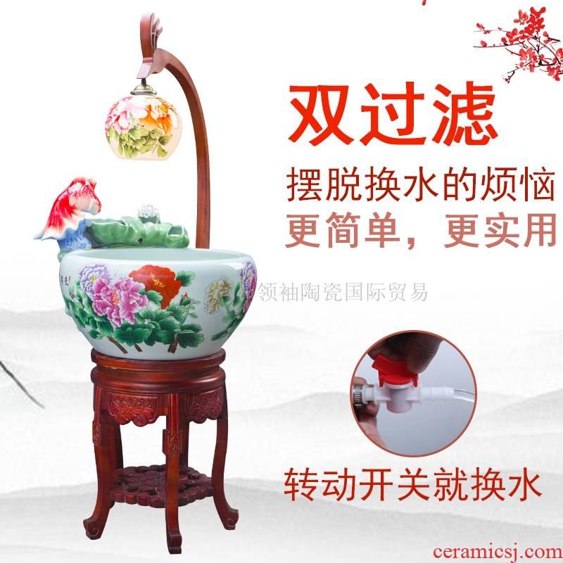 Jingdezhen ceramic aerobic fengshui atomization goldfish bowl cycle gift porcelain filtering home sitting room a goldfish bowl