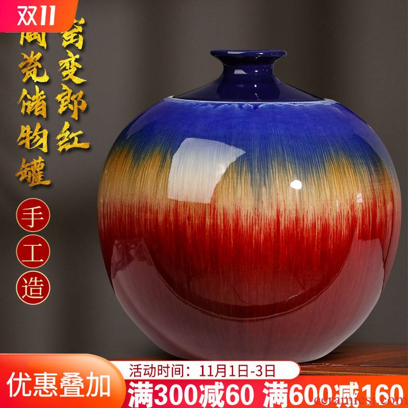 Furnishing articles of jingdezhen ceramics up with ruby red storage tank porcelain jar with cover large tea meters oil jar ornaments