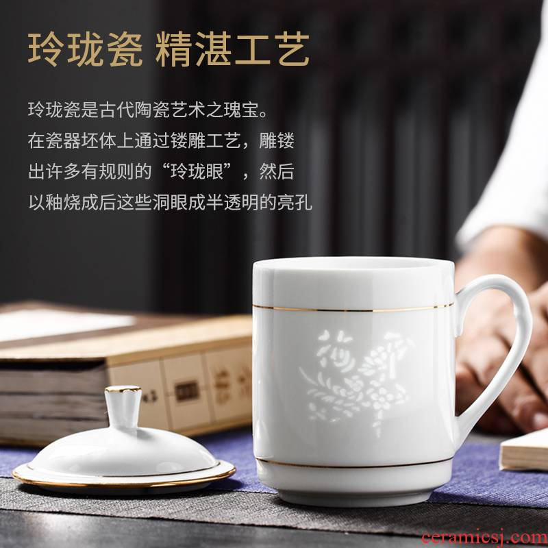 Jingdezhen porcelain and ipads ceramic cups with cover office meeting mark creative move household glass cup