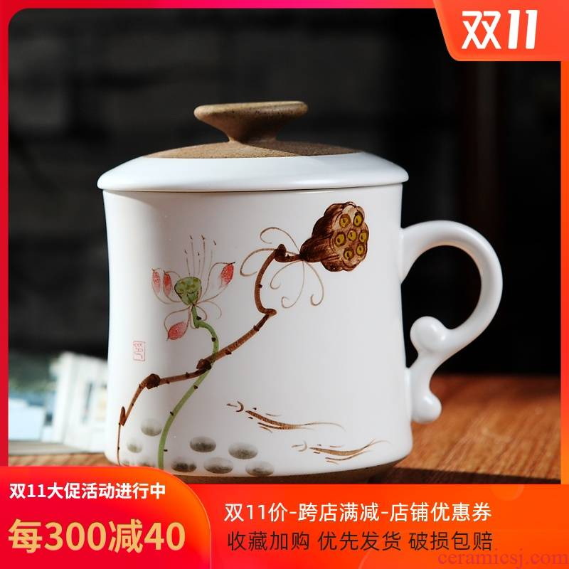 Jingdezhen hand - made of new ceramic cups with cover filter move woman with personal office water glass tea set
