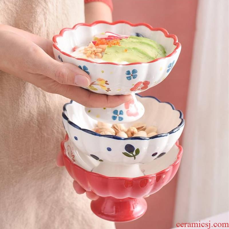 Japanese ceramics creative individual tall bowl of yogurt dessert bowl salad bowl hand - made ice cream bowl