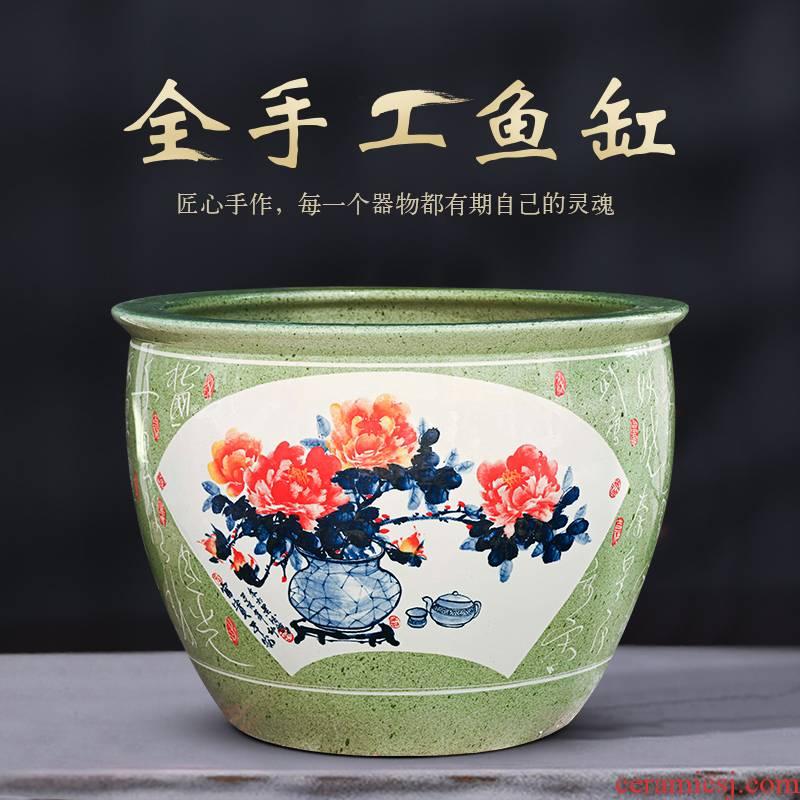 Jingdezhen ceramic tank sitting room home oversized tank feng shui plutus courtyard goldfish bowl fish basin furnishing articles