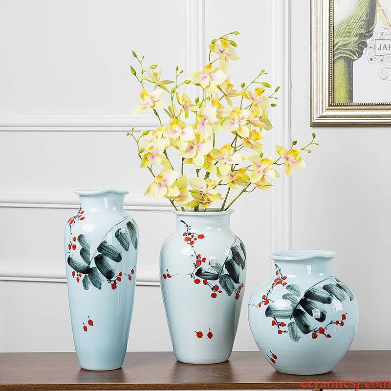 Jingdezhen new Chinese modern ceramic three - piece vase dry flower arranging wine sitting room adornment place adorn article vase