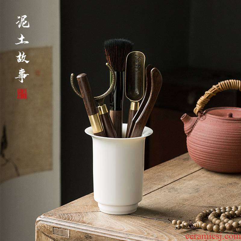 Ebony wood tea white porcelain six gentleman kung fu tea accessories 6 gentleman of tea ChaGa spoon, knife tools