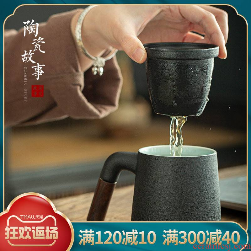 Story of pottery and porcelain tea cups separation of office tea cup with cover filter custom logo green tea cup