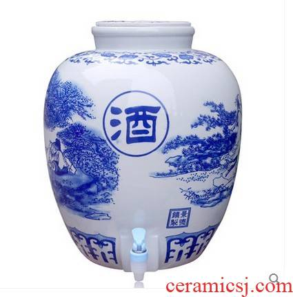 Jingdezhen ceramic jars hip brew cylinder big blue seal bottle mercifully jars with leading 50 pounds