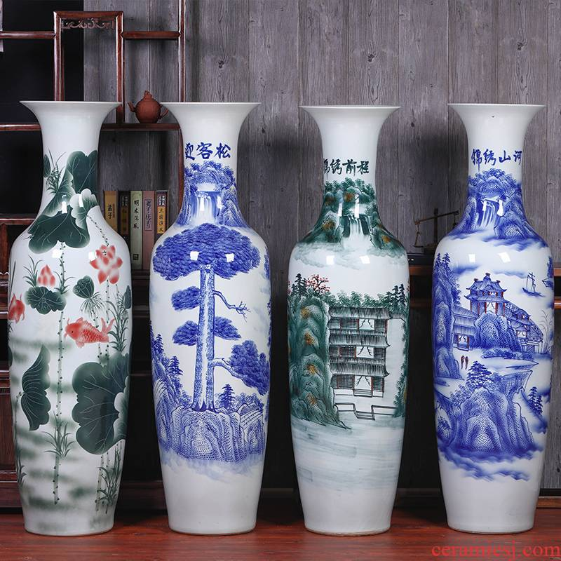 Jingdezhen ceramics home TV ark, big blue and white porcelain vase landed the sitting room porch place set decoration