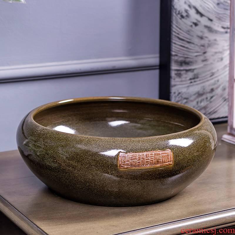 Jingdezhen ceramic aquarium large desktop turtle cylinder goldfish bowl lotus pond lily bowl lotus shallow basin