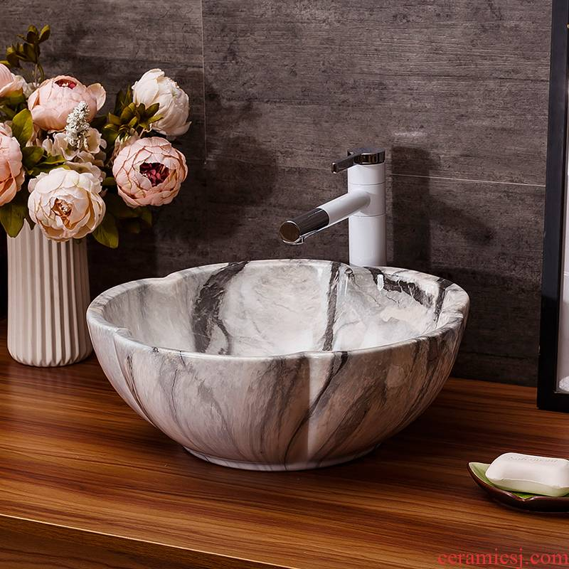 Domestic toilet lavabo Europe type restoring ancient ways oval lavatory basin marble basin of ceramic art on the stage