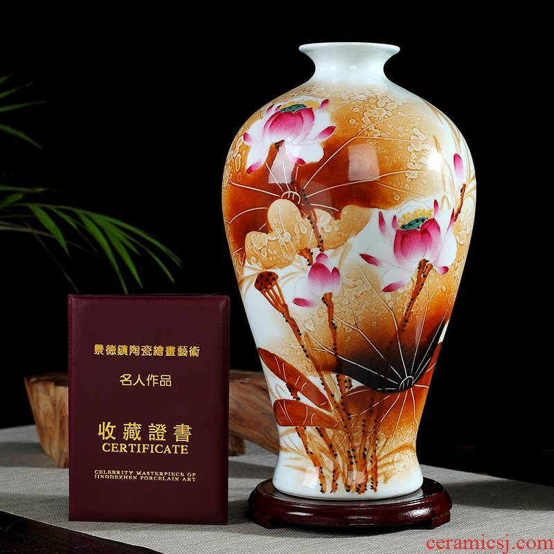 0971 jingdezhen checking ceramic vase furnishing articles hand - made porcelain flower arranging office sitting room decoration