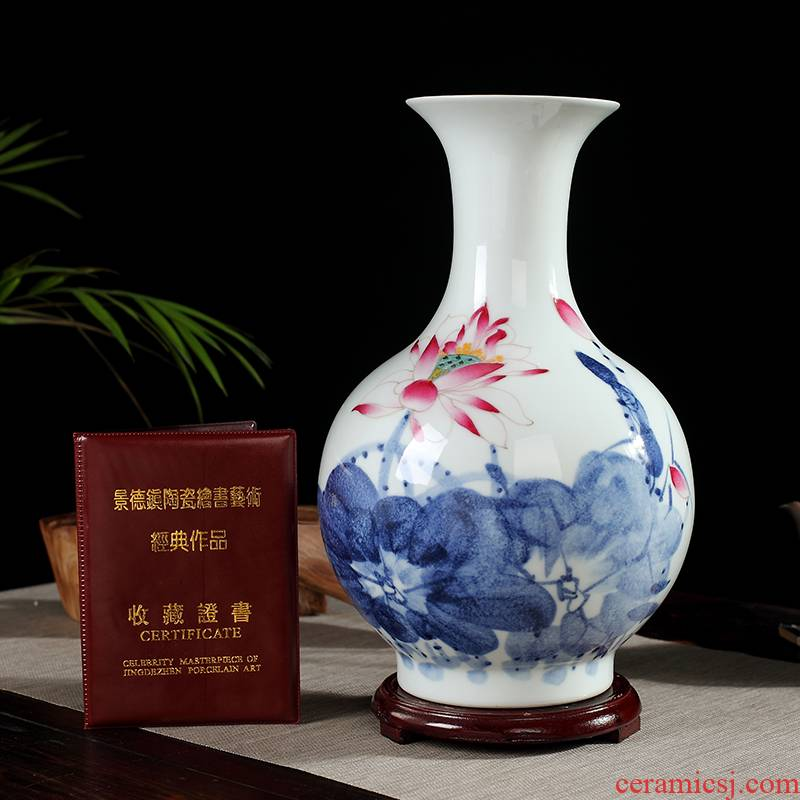 Jingdezhen ceramics by hand vase furnishing articles hand - made dried flower arranging flowers I and contracted sitting room decoration