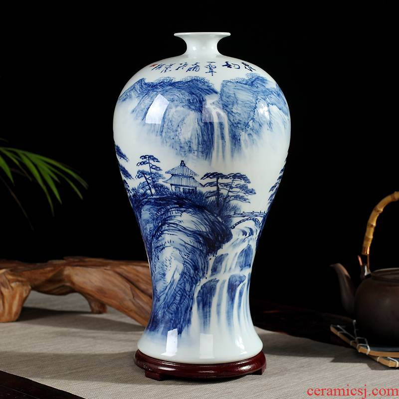 96 new jingdezhen ceramics by hand of blue and white porcelain vase furnishing articles flower arranging rich ancient frame sitting room adornment handicraft