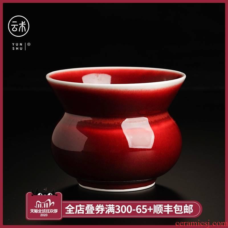 Cloud operation manual collection level ruby red glaze ceramic tea wash bath antique tea tea - leaf dou tea barrel water jar is built