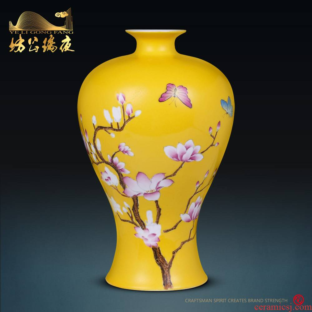 Jingdezhen ceramics furnishing articles hand - made yulan fragrance vase Chinese style household living room TV cabinet decorative arts and crafts