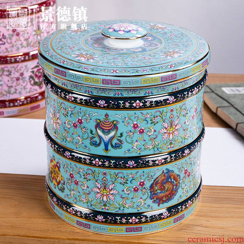 Jingdezhen flagship stores in tea tea cake storage tanks with cover light key-2 luxury appreciation collection tank paint storage tanks
