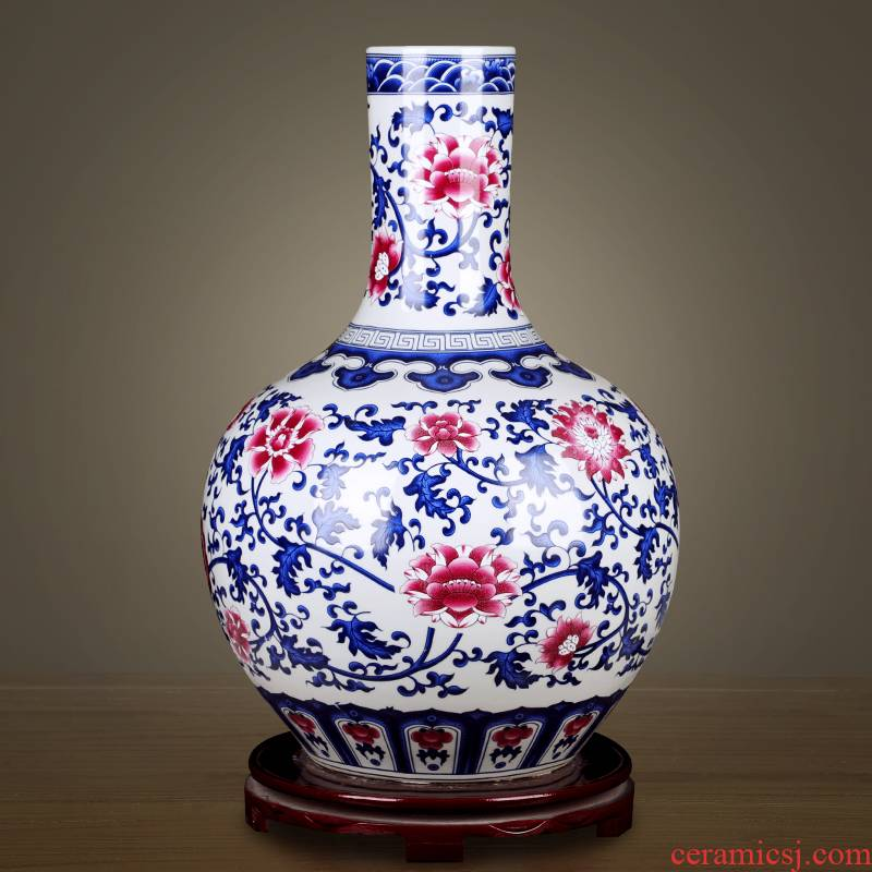 Jingdezhen ceramic archaize floor large vases, flower arranging Chinese rich ancient frame decorative porcelain furnishing articles large living room