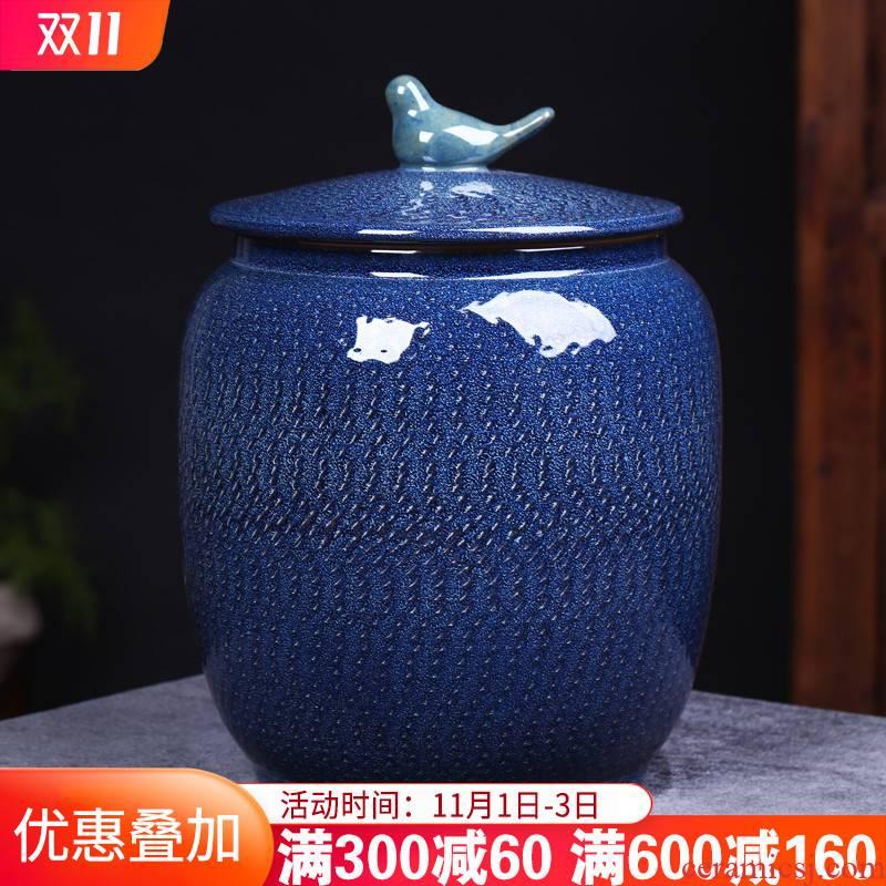 Jingdezhen ceramic barrel carving large 20 jins 30 jins with household with cover seal storage jar of pu 'er tea pot