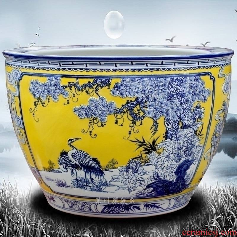 Jingdezhen ceramic hand - carved pine crane live ground tank sitting room courtyard hotel study Chinese penjing products