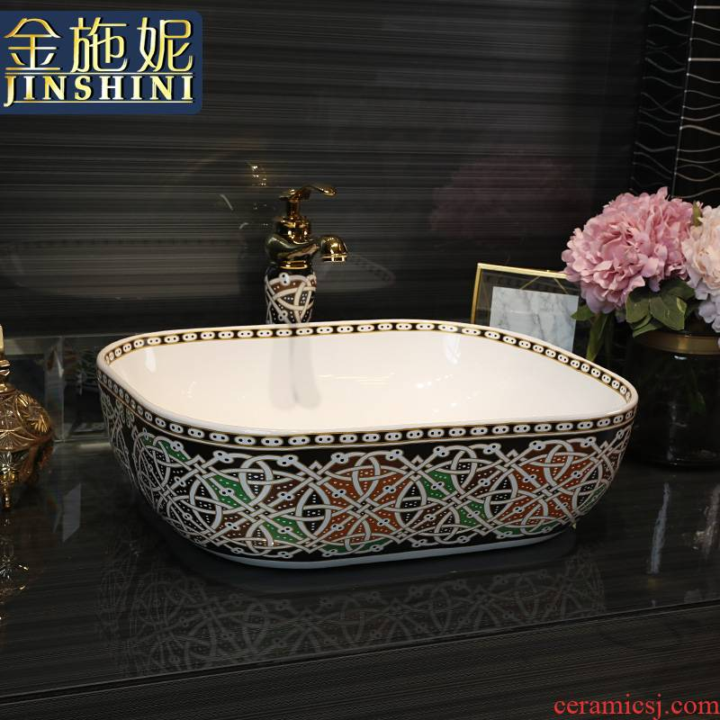 Gold cellnique art basin ceramic lavatory artical luxuriant lavabo hotel that wash a face plate of small size