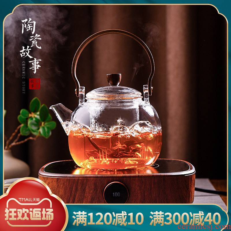 Ceramic story cooking pot and thicken high temperature resistant glass kettle household teapot electric TaoLu boiled tea set