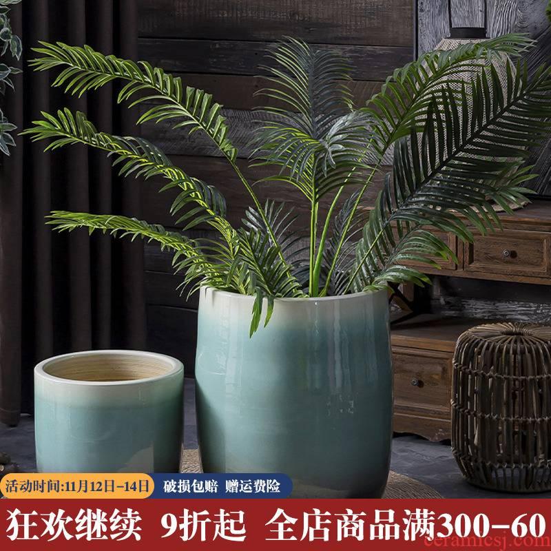 Landscape garden decorative flower arranging furnishing articles American green large ceramic vase landing creative gallons Nordic flowerpot