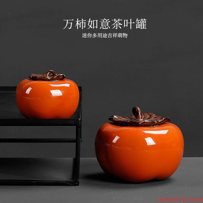 Persimmon Persimmon ruyi caddy fixings small mini carry portable ceramic Persimmon furnishing articles containers of tea POTS
