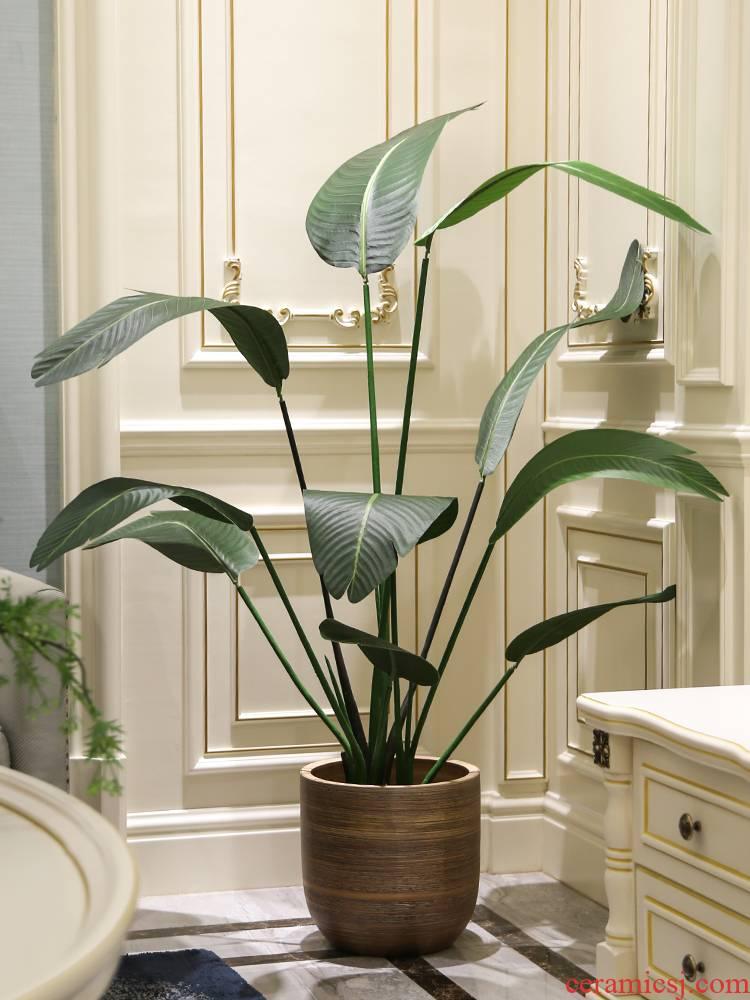 Nordic I and contracted large caliber brown ceramic flowerpot landing indoor sitting room hotel simulation big green plant flower arrangement