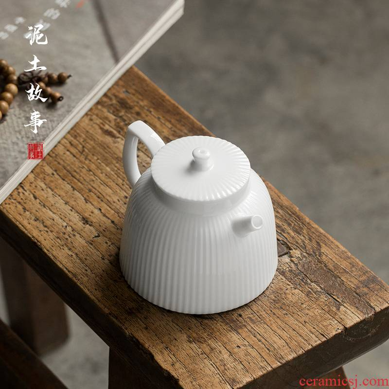 Small sweet white porcelain of jingdezhen ceramic teapot tea teapot is single pot of contracted with filter hole, kung fu tea set home