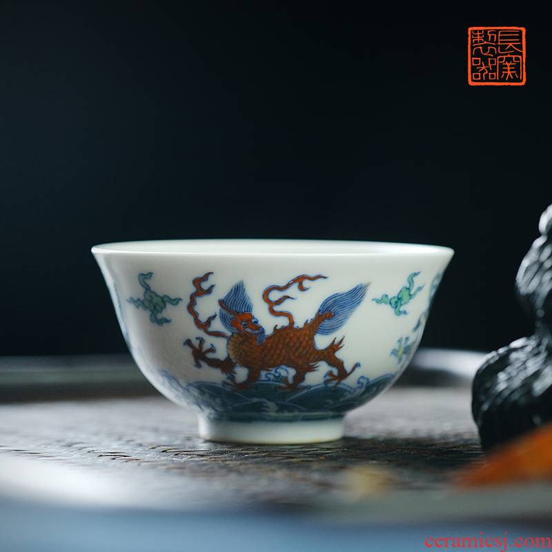 Offered home - cooked in yongzheng bucket color sea grain small jingdezhen full manual hand - made ceramic tea cups