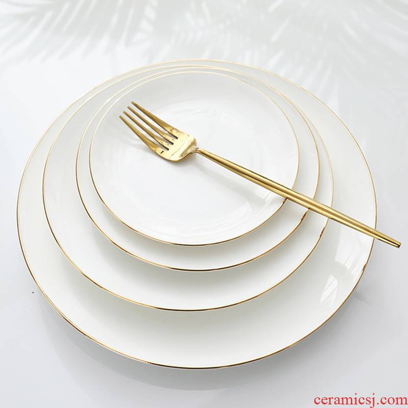 Ceramic dish dish dish household food dish of up phnom penh flat ipads China breakfast dish creative steak dinner plate