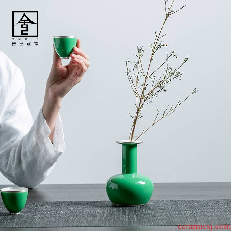 "The Self - ""appropriate content CuiQing ceramic flower implement light and decoration vase Nordic contracted trace silver vase furnishing articles flower arranging the modern living room"